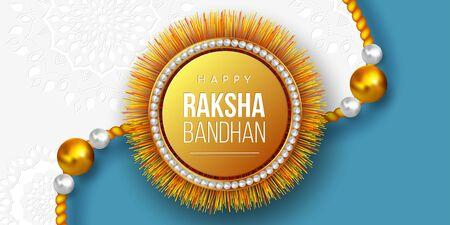 Happy Raksha Bandhan holiday background with decorated rakhi. Brother and sister celebration Rakhi festival design. Vector illustration. 일러스트