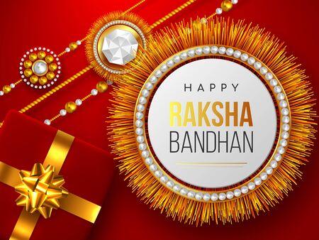 Raksha Bandhan red background with decorated rakhi and gift box. Brother and sister celebration Rakhi festival design. Vector illustration.