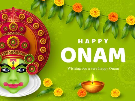 Onam festival background for South India Kerala traditional celebration. Onam Kathakali dancer with flowers and candle. Vector illustration.