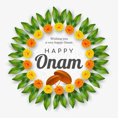 Onam festival background for South India Kerala traditional celebration. Floral wreath with umbrella. Vector illustration. Çizim
