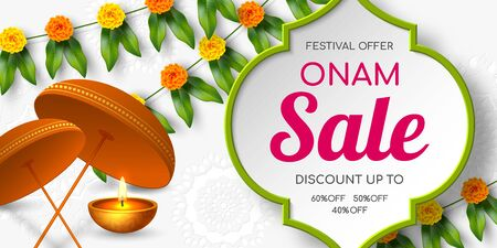 Onam sale promotion banner decorated floral wreath with umbrella. South India Kerala traditional festival discount offer. Vector illustration. Çizim