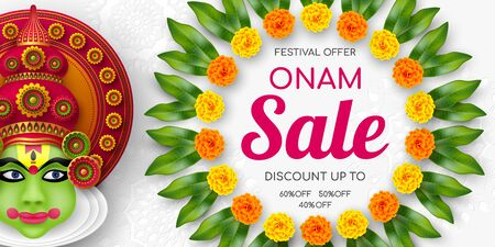 Onam sale promotion banner decorated floral wreath with Kathakali dancer. South India Kerala traditional festival discount offer. Vector illustration.