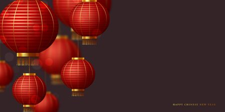 Chinese red hanging lanterns on dark background. Blur effect. Copy space. Empty template for Chinese traditional holidays. Vector.
