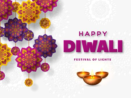 Diwali festival of lights holiday design with paper cut style of Indian Rangoli and diya - oil lamp. Purple color on white background. Vector illustration. 일러스트