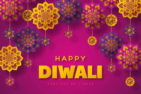 Diwali festival of lights holiday typographic design with hanging paper cut style of Indian Rangoli. Purple color background. Vector illustration. 일러스트