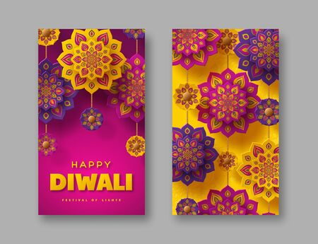 Diwali festival of lights holiday posters. Typographic design with hanging paper cut Indian Rangoli. Purple and yellow background. Vector illustration. 일러스트
