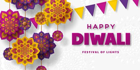 Diwali festival of lights holiday typographic design with hanging paper cut Indian Rangoli and bunting flags. White background. Vector illustration. 일러스트