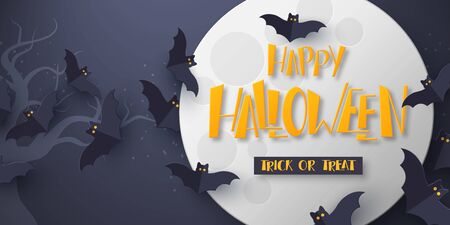 Halloween holiday poster. 3d paper cut style flying bats with full moon and hand drawn greeting text. Dark background. Vector illustration.
