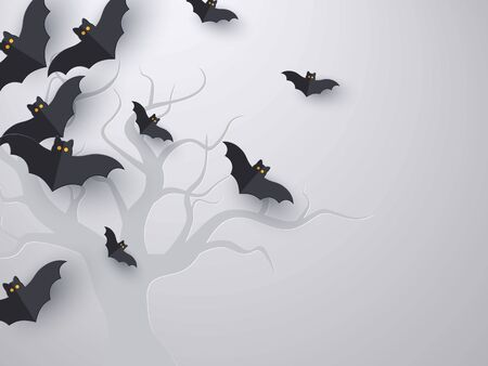 Flying bats background with copy space. 3d paper cut style. Grey background with tree silhouette for Halloween holiday. Vector illustration.