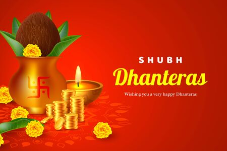 Shubh Dhanteras holiday composition for Diwali festival celebration. Indian pots for pooja with coins and diya, red background. Vector illustration. Ilustracja