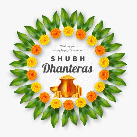 Shubh Dhanteras holiday composition for Diwali festival celebration. Indian pots with coins and diya, floral wreath. Vector illustration. Ilustracja