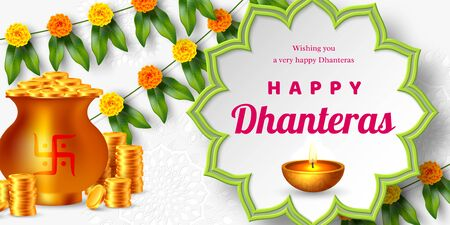Shubh Dhanteras holiday composition for Diwali festival celebration. Indian pots for pooja with coins and diya, floral garland. Vector illustration. Ilustracja