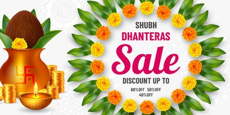 Shubh Dhanteras sale promotional banner for Diwali festival celebration. Indian pots for pooja with coins and diya, floral garland. Vector illustration. Ilustracja