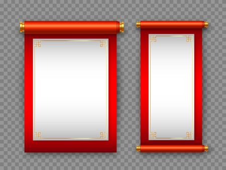 Chinese scrolls in traditional style on transparent background. Decorative elements for Chinese holidays with copy space. Vector illustration. Çizim