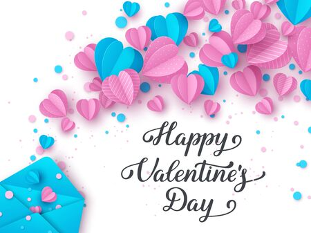 Happy Valentines day handwritten lettering text. Typography poster design decorated paper cut pink and blue hearts with envelope on white background. Vector illustration.