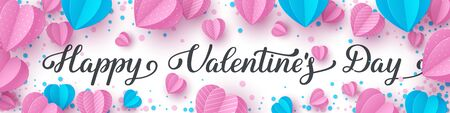 Happy Valentines day handwritten lettering text. Horizontal banner decorated paper cut pink and blue hearts with envelope on white background. Vector illustration.