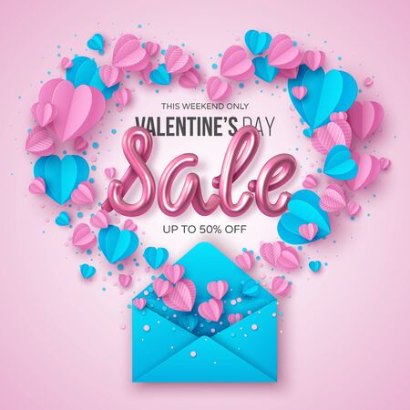 Happy Valentines day sale banner. Decorative paper cut pink and blue hearts with envelope and handwritten 3d glitter text. Pink background. Vector illustration for posters, web, advertising. 向量圖像