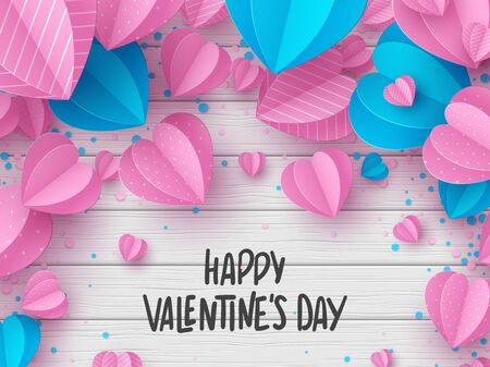 Happy Valentines day greeting card. Decorative paper cut pink and blue hearts with handwritten text on white wooden background. Vector illustration. Standard-Bild - 134628994