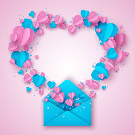 Happy Valentines day greeting card. Decorative paper cut hearts and envelope on pink background with copy space. Vector illustration. Standard-Bild - 134628831