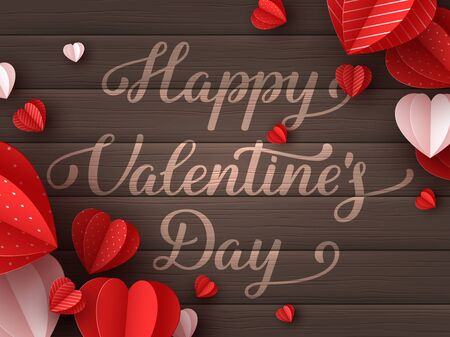 Happy Valentines day greeting card. Decorative paper cut hearts with handwritten text on brown wooden background. Vector illustration. 向量圖像