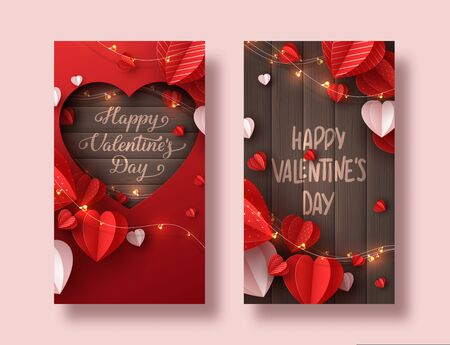 Happy Valentines day holiday banners. Decorative paper cut hearts, gift box, garland with handwritten lettering text on brown wooden background. Vector illustration.