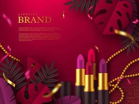 Lipstick makeup ad, cosmetics beauty product. Decorated tropical leaves and beads. Vector template for advertisement.