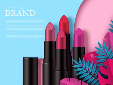 Lipstick makeup ad, cosmetics beauty product. Decorated tropical leaves. Flat lay in pastel colors. Vector template for advertisement. 向量圖像