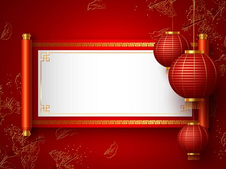 Chinese New Year banner. Chinese red scroll with copy space and hanging lanterns. Traditional chinese floral background. Vector. 向量圖像