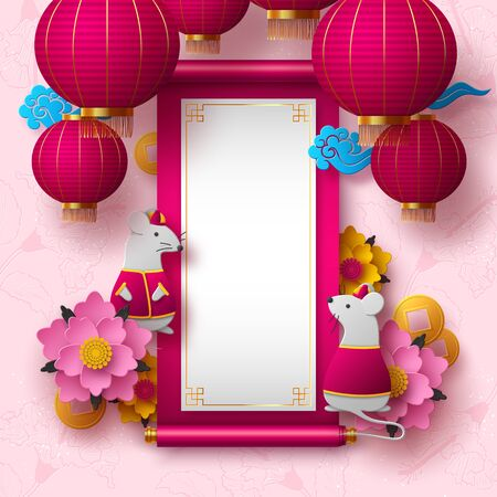 Chinese New Year 2020. Papercut clothed rat character, flowers, clouds, hanging lanterns. Copy space on Chinese scroll. Pink floral background. Vector. 向量圖像
