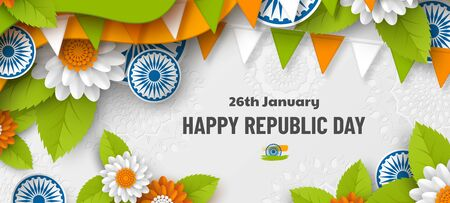 India Republic day holiday banner. 3d wheels, flowers in traditional tricolor of Indian flag. Paper cut layered art. Vector illustration. 向量圖像