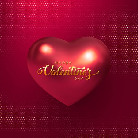 Happy Valentines Day banner. 3d metallic heart with in red color. Handwritten lettering text. Glitter dotted background. Vector. 向量圖像