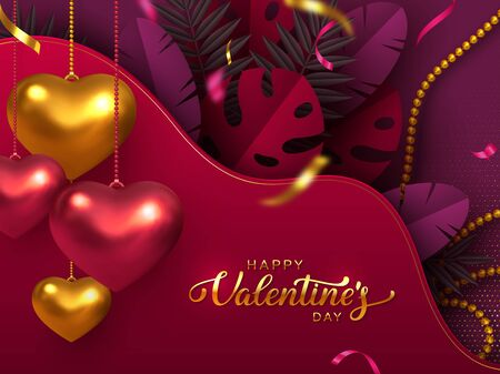 Happy Valentines Day banner. 3d metallic hanging hearts with tropical leaves, beads in golden, red, purple colors. Handwritten lettering text. Vector.