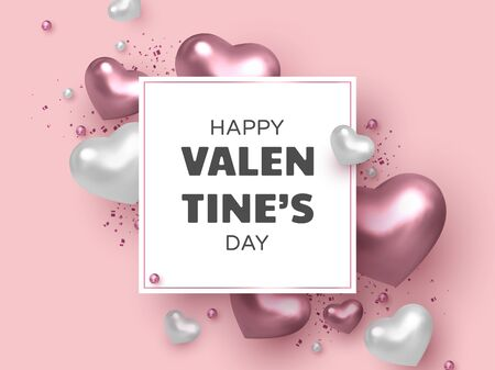 Happy Valentines Day banner. 3d metallic hearts with beads and confetti in white and pink colors. Realistic glossy design elements. Vector.