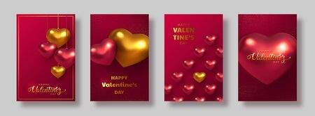 Happy Valentines Day banners or posters. 3d metallic hearts in red color with handwritten lettering text. Glitter dotted background. Vector.