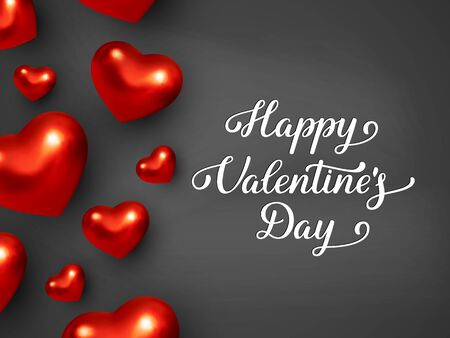 Happy Valentines Day banner. 3d metallic red hearts with handwritten lettering text. Black background. Vector.
