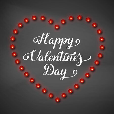 Happy Valentines Day greeting card. Red heart frame with candles. Handwritten lettering text. Realistic design, black background. Vector.