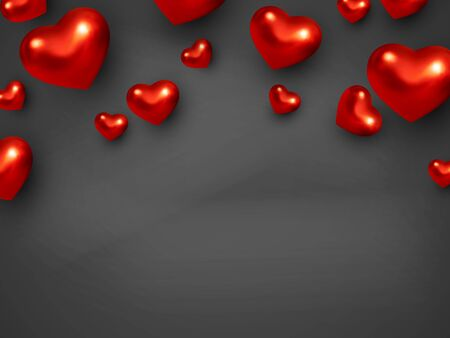 Valentines Day background in black color with 3d metallic red hearts. Top view, copy space Vector.