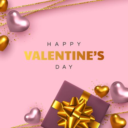 Happy Valentines Day greeting card. 3d metallic pink and golden hearts with gift box, confetti, decorative glitter strips. Realistic design elements. Vector.
