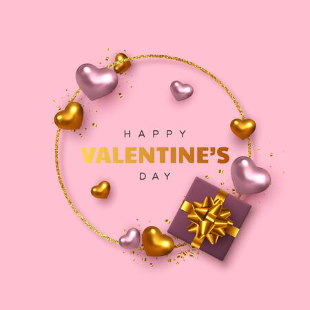 Happy Valentines Day greeting card. 3d metallic pink and golden hearts with gift box, confetti, glitter round frame. Realistic decorative design elements. Vector. 向量圖像