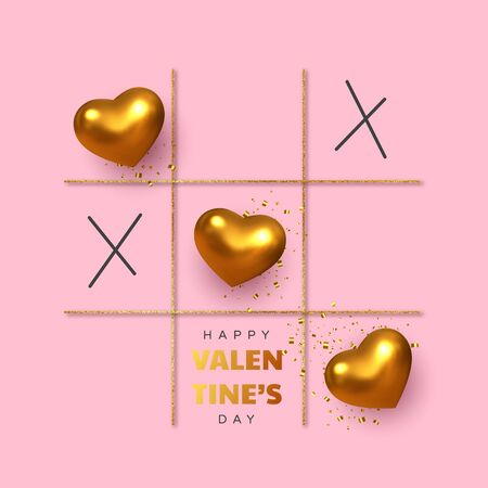 Valentines day concept. Tic tac toe game with criss cross metallic golden hearts and x sign. Glitter line, flat pink background. Vector.