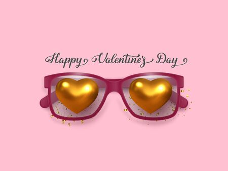 Valentines day banner. Falling in love concept with pink glasses and metallic golden hearts. Realistic design, flat pink background, handwritten lettering text. Vector.