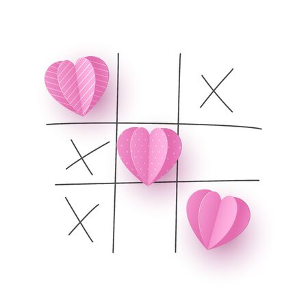 Valentines day concept. Tic tac toe game with criss cross paper cut pink hearts and hand drawn x sign. Doodle line, white background. Vector.