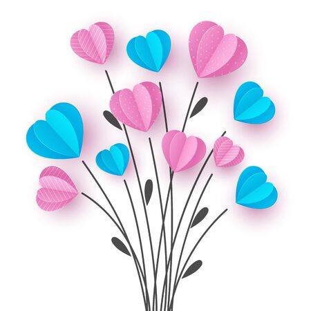 Bouquet with hand drawn floral branch and paper cut pink and blue hearts. Concept for Valentines, Mother, Women Days or wedding. White background. Vector.
