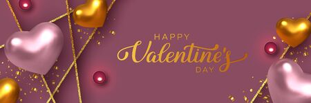 Happy Valentines Day banner. 3d metallic pink and golden hearts with confetti, candles, decorative glitter strips. Handwritten lettering text. Vector. 版權商用圖片 - 136548859
