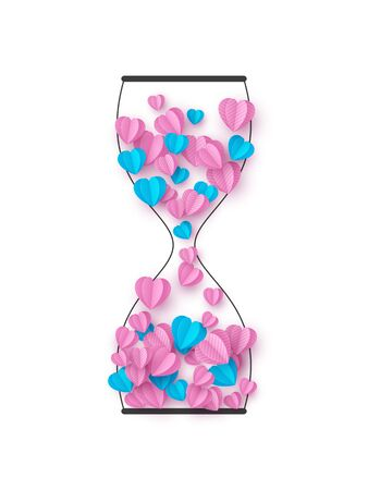 Hourglass with pink and blue hearts. Love concept for Valentines, Womens or Mothers day. Outline with paper cut style. Vector isolated on white.