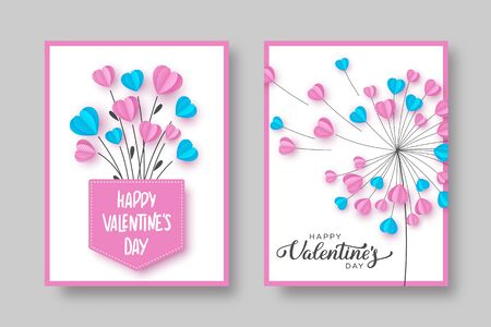 Valentines day cards. Dandelion and bouquet with pink and blue hearts. Love concept for Valentines, Womens or Mothers day. Outline with paper cut style. Vector. Ilustracja