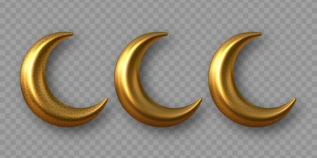 3d golden reflective crescent moons with arabesque pattern. Decorative vector elements for Muslim holidays. Isolated on transparent background. 向量圖像
