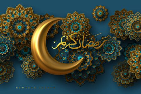 Ramadan Kareem banner with 3d metallic golden crescent moon, paper cut abstract arabesque flowers and Arabic handwritten calligraphy. Translation Ramadan Kareem. Vector.