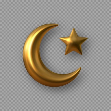 3d golden reflective crescent moons with star. Decorative vector elements for Muslim holidays. Isolated on transparent background.