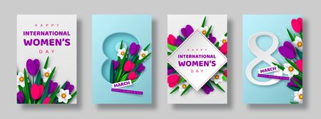 8 March greeting cards for International Womens Day. 3d paper cut number 8 with bouquet of spring flowers tulip and narcissus, turquoise background. Vector illustration.